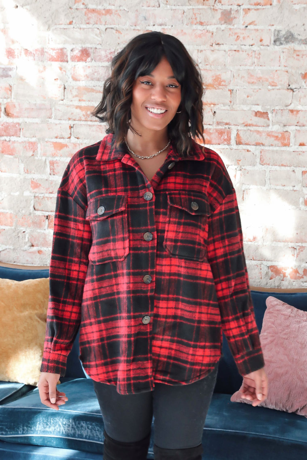 Oversized Campfire Flannel - Red