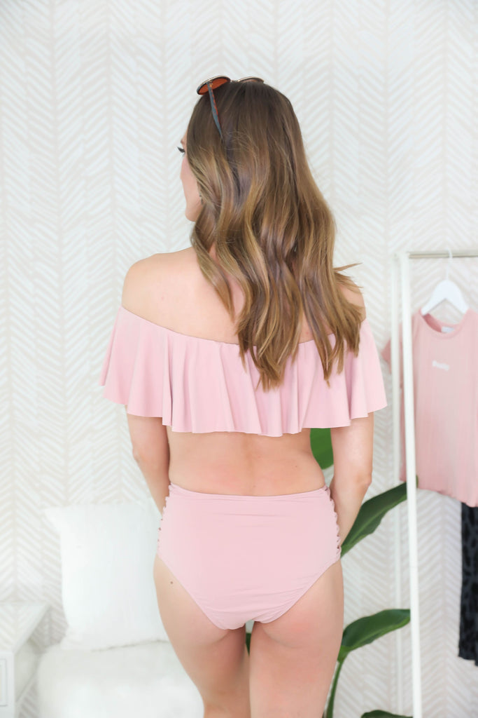 Paradise Off the Shoulder Blush Swimsuit - Top