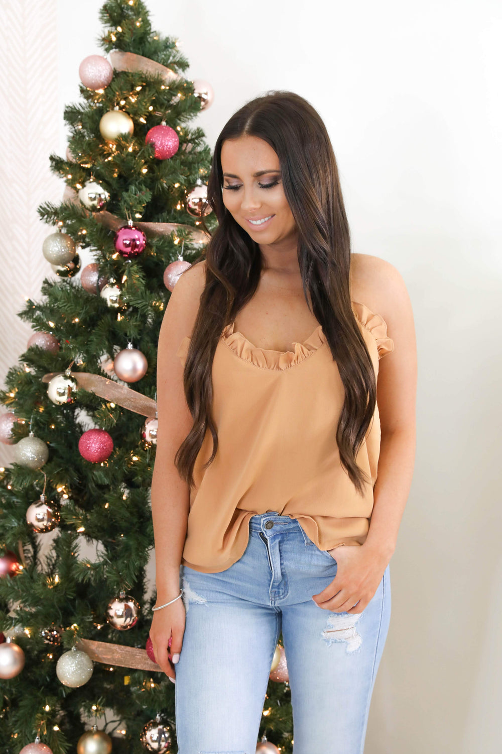 Piece of my Heart Ruffle Cami in Camel