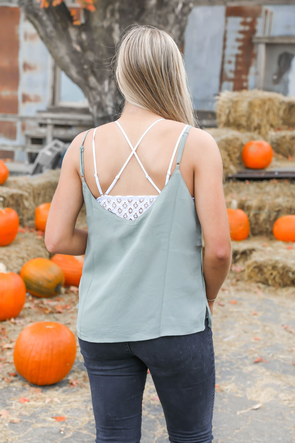 Piece of my Heart Ruffle Cami in Sage
