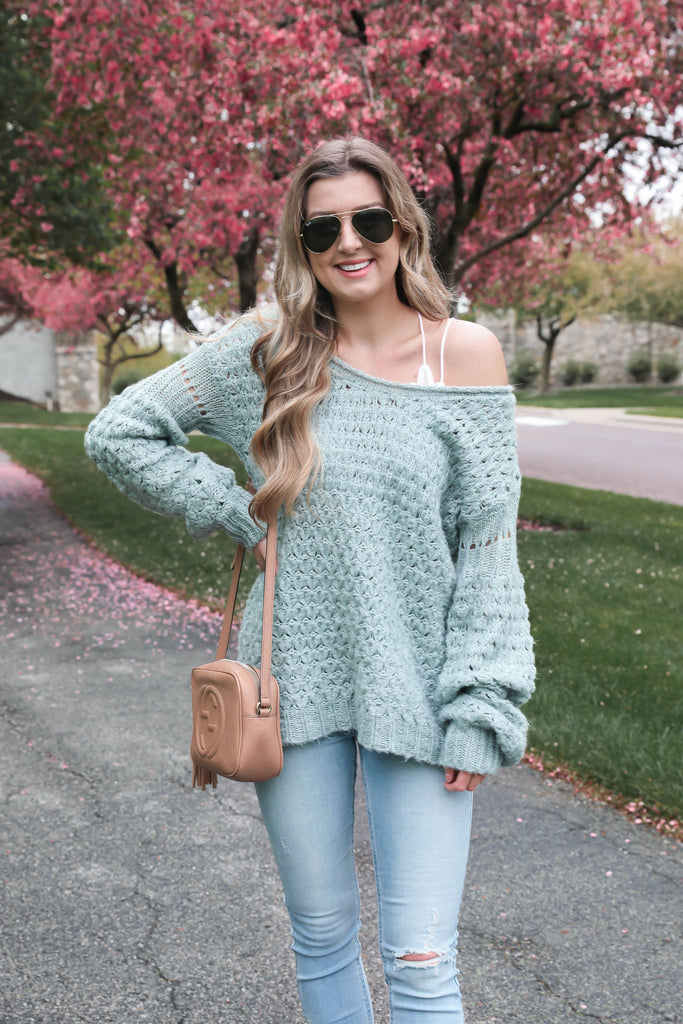 Pool Day Knitted Sage Sweater