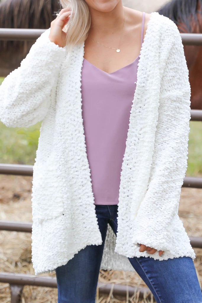 "Pop the Popcorn Cardigan in Ivory ""Inspired by Shanna Hutcheson"""