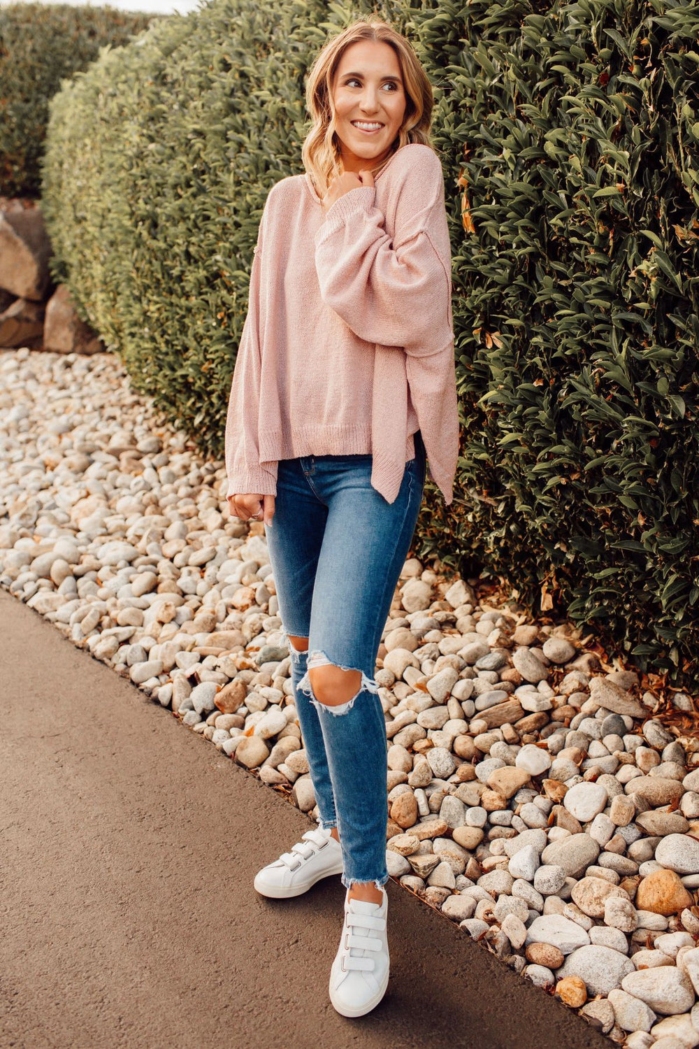 Powder Pink Sweater Inspired by Ashley from Twenties Girl Style