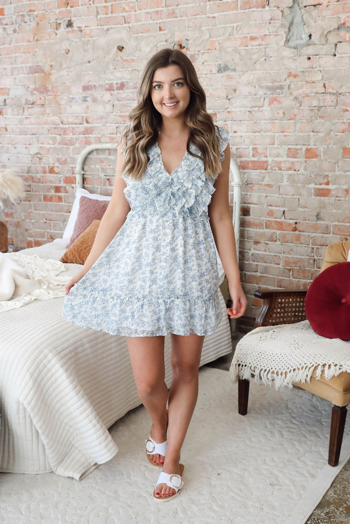 RESTOCK Blissful Blue Ruffle Dress