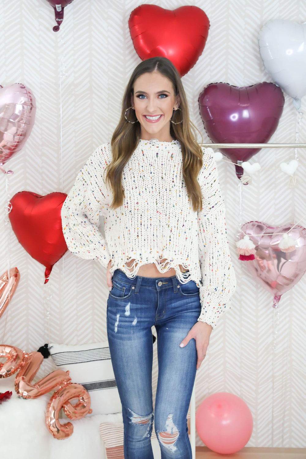 Rainbow Confetti Ivory Distressed Sweater
