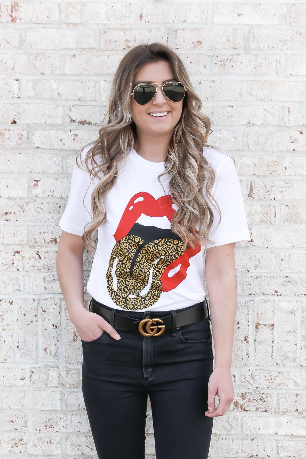 Red & Leopard Tongue Band Tee