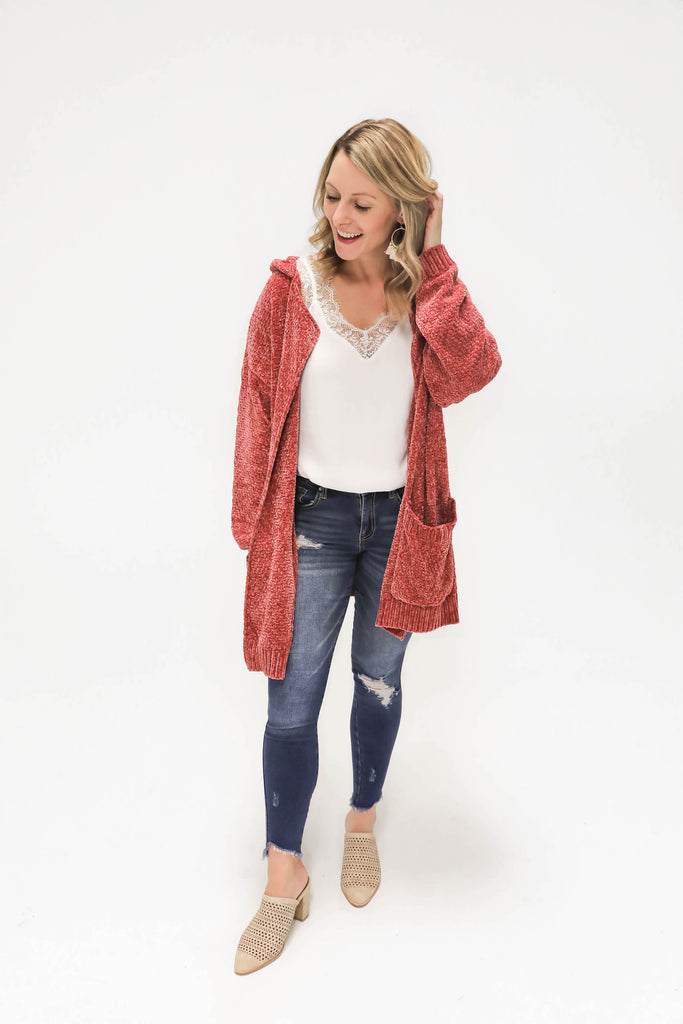 Rust Hooded Chenille Cardigan