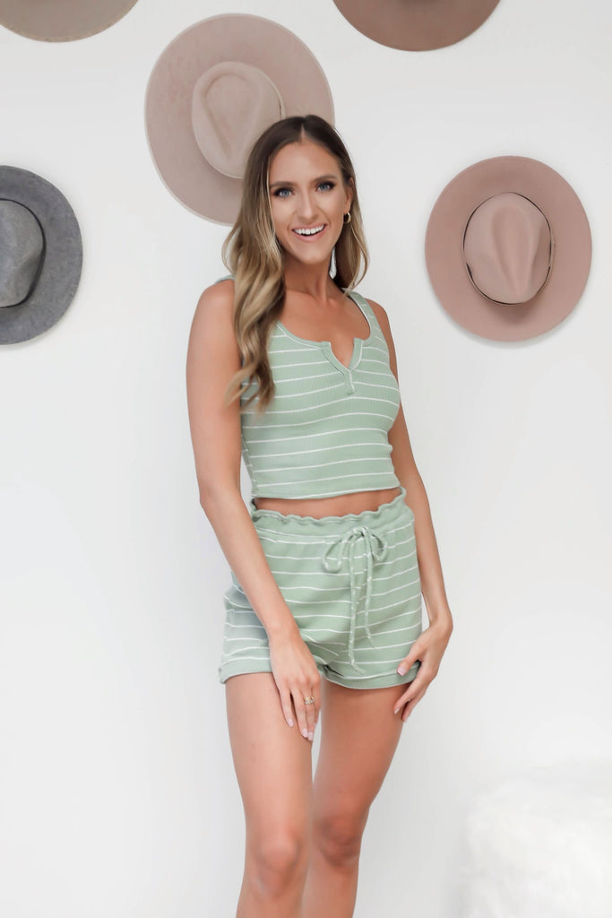 Sage Striped Lounge PJ Shorts