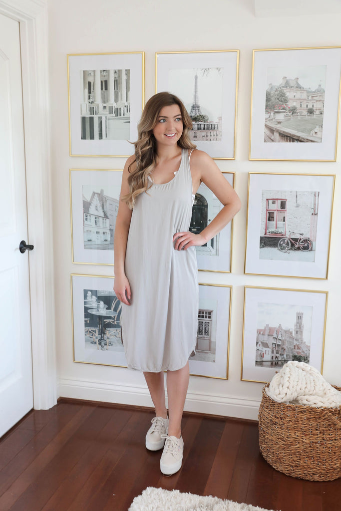 Santa Barbara Criss Cross Jersey Dress - Gray