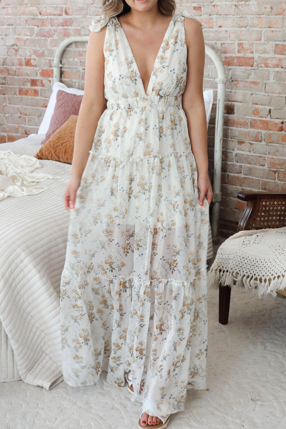 Sheer Joy Floral Maxi Dress