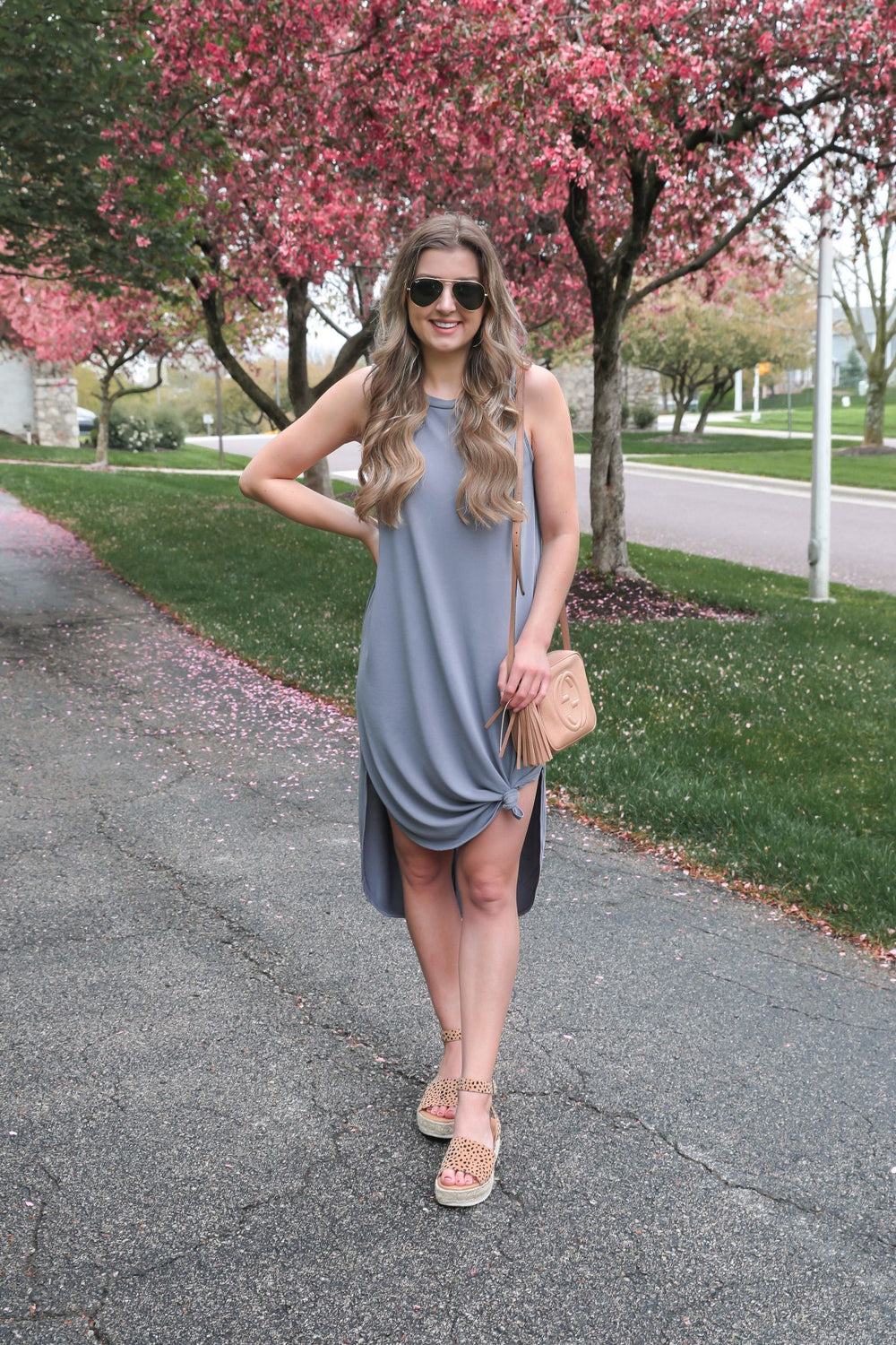 Simple Days Sleeveless Dress - Charcoal Blue