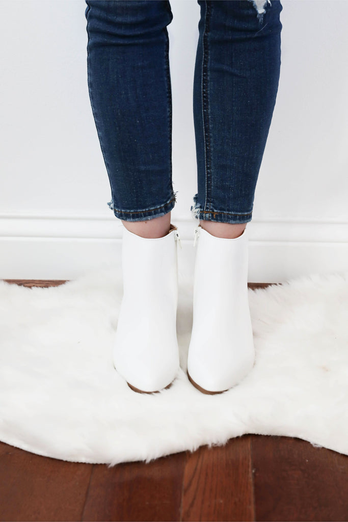 Skip in Her Step White Booties