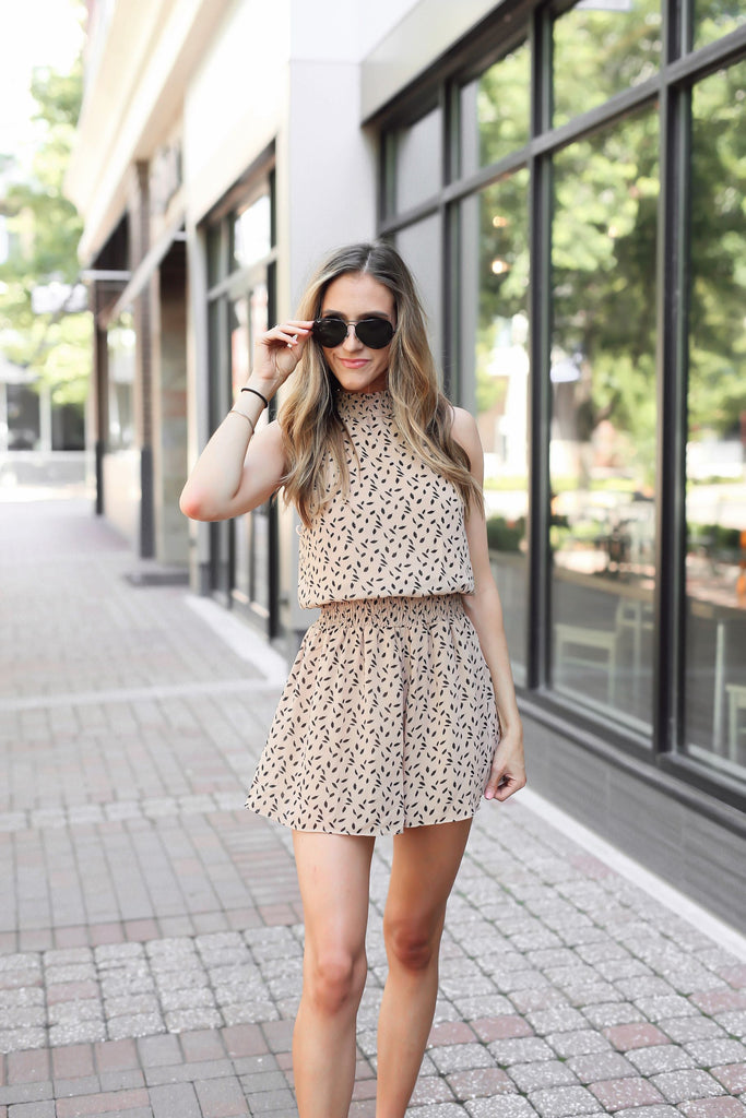 Spotted Around Town Smocked Romper