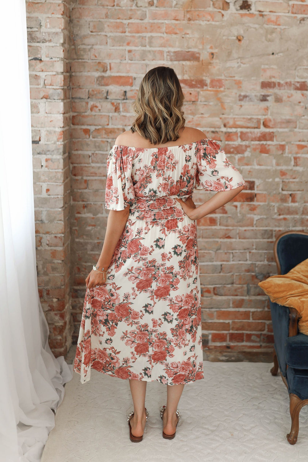 Square Neck Floral Midi Dress Inspired by Shelby Ditch