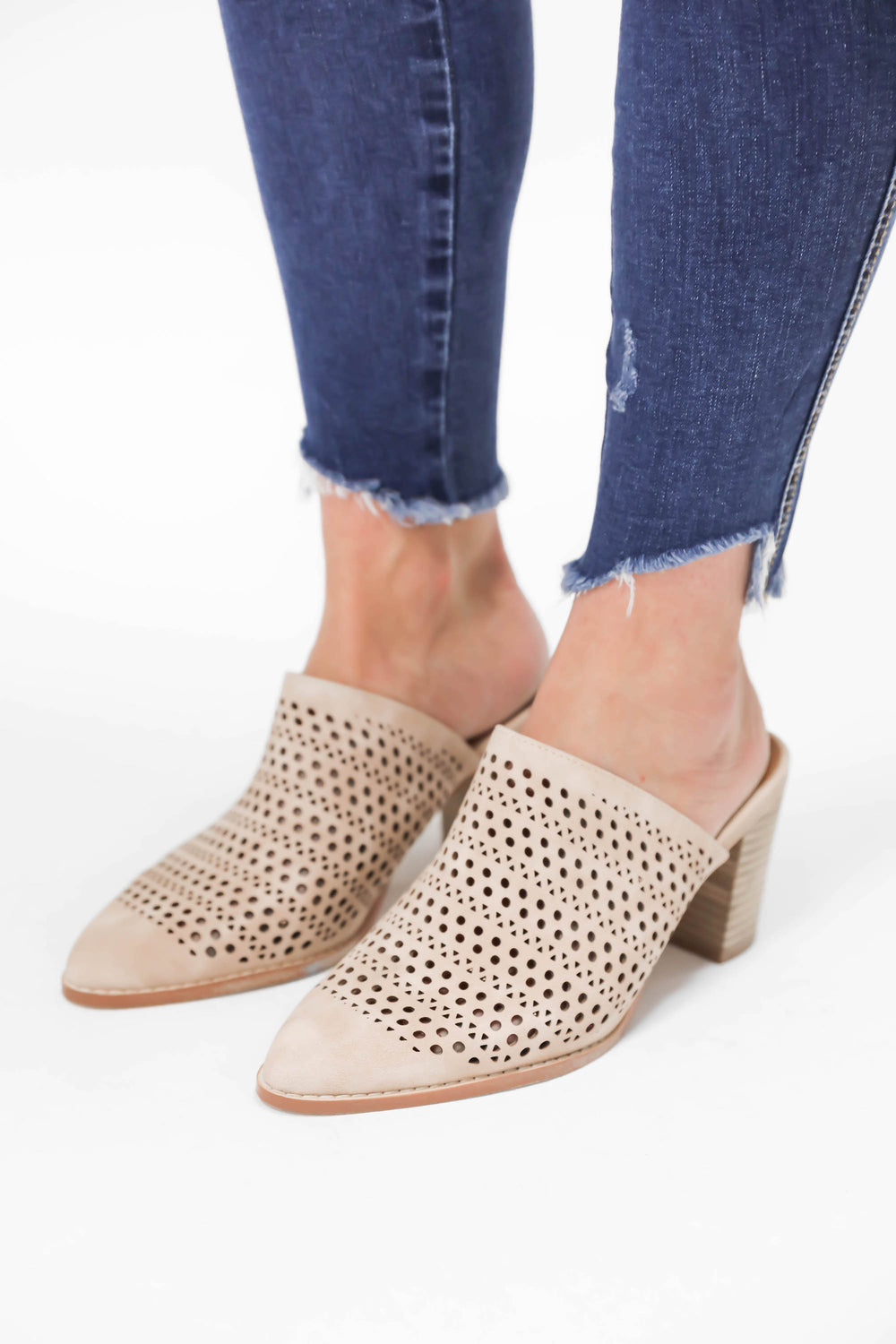 Step Aside Slip On Heeled Mules