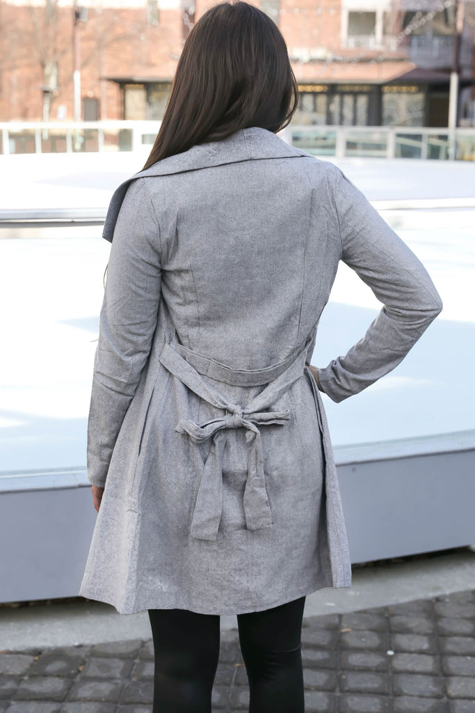 Such a Treat Tied Trench Coat in Grey