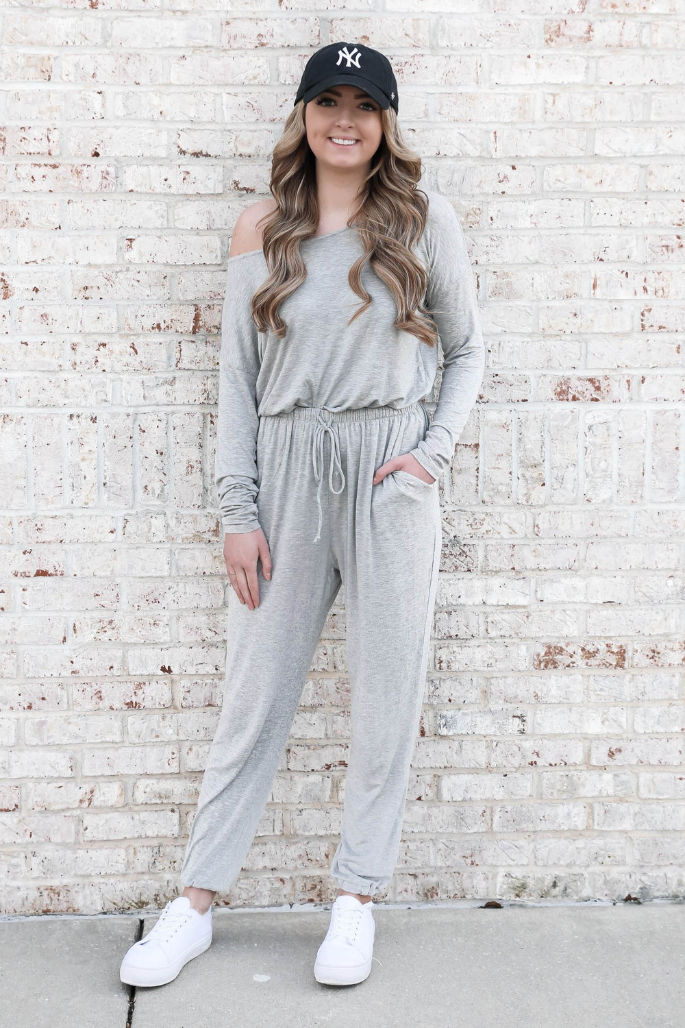 Sweet Escape Off the Shoulder Jumpsuit - Heather Grey