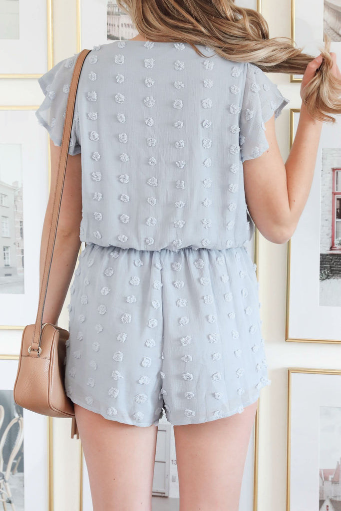Sweet and Sassy Swiss Dot Romper - Blue