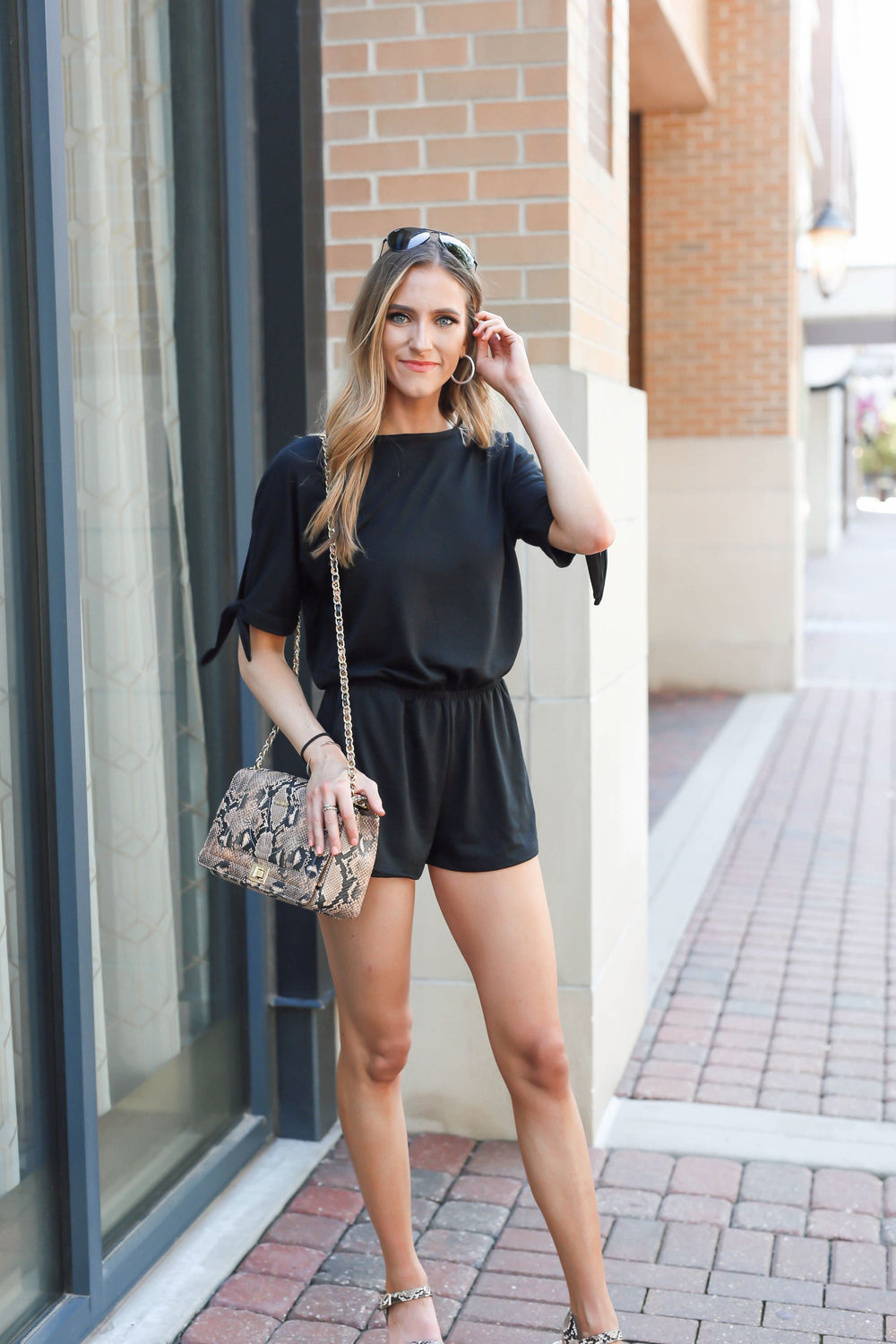Take a Stand Black Tie Romper
