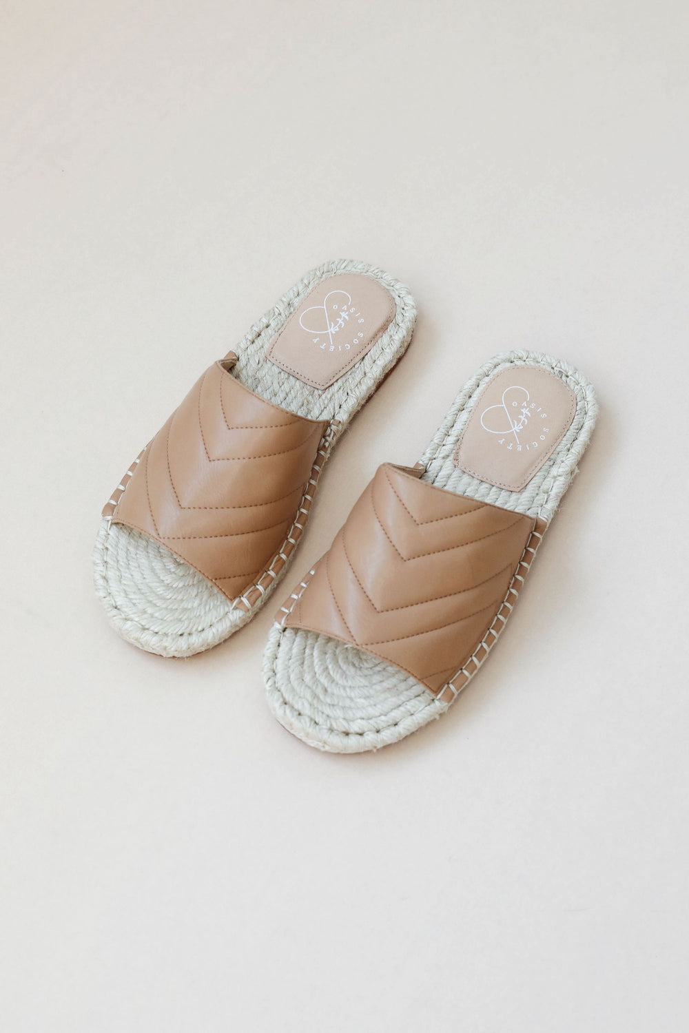 Tan Chevron Espadrille Slides