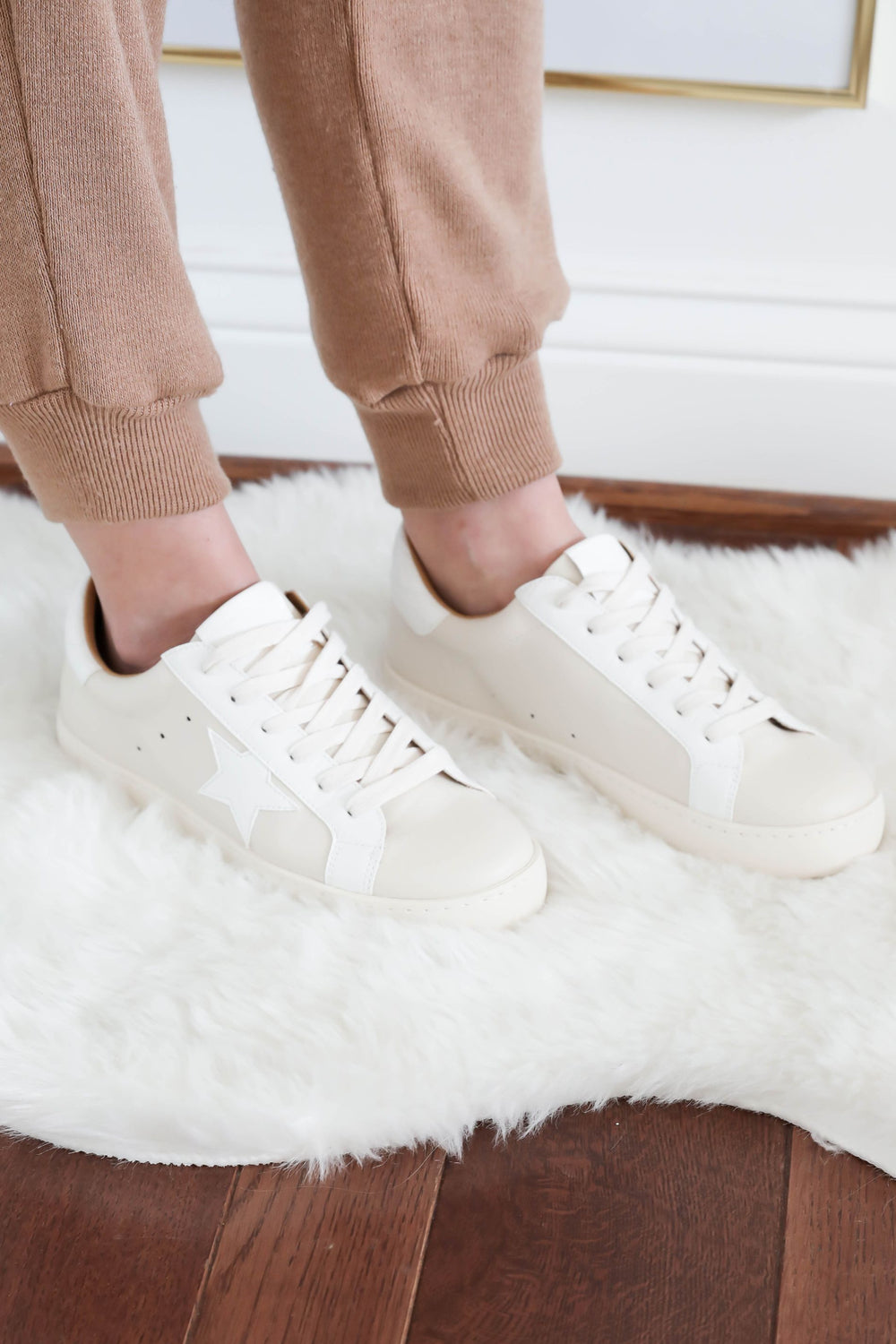 Tan & White Star Sneakers