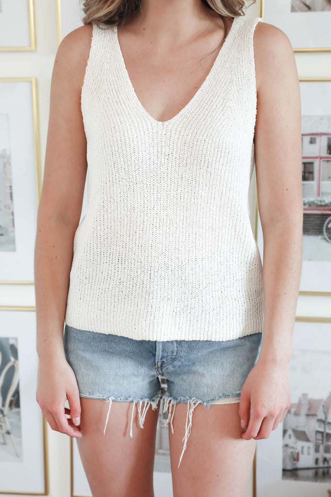 Thread & Supply Knitted Ivory Tank
