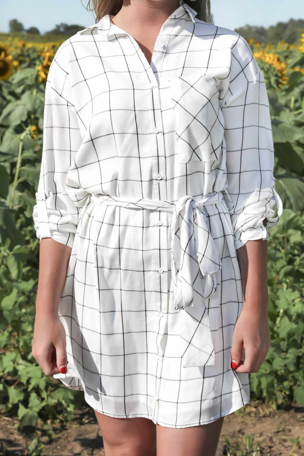 Trusty Tied Windowpane Dress