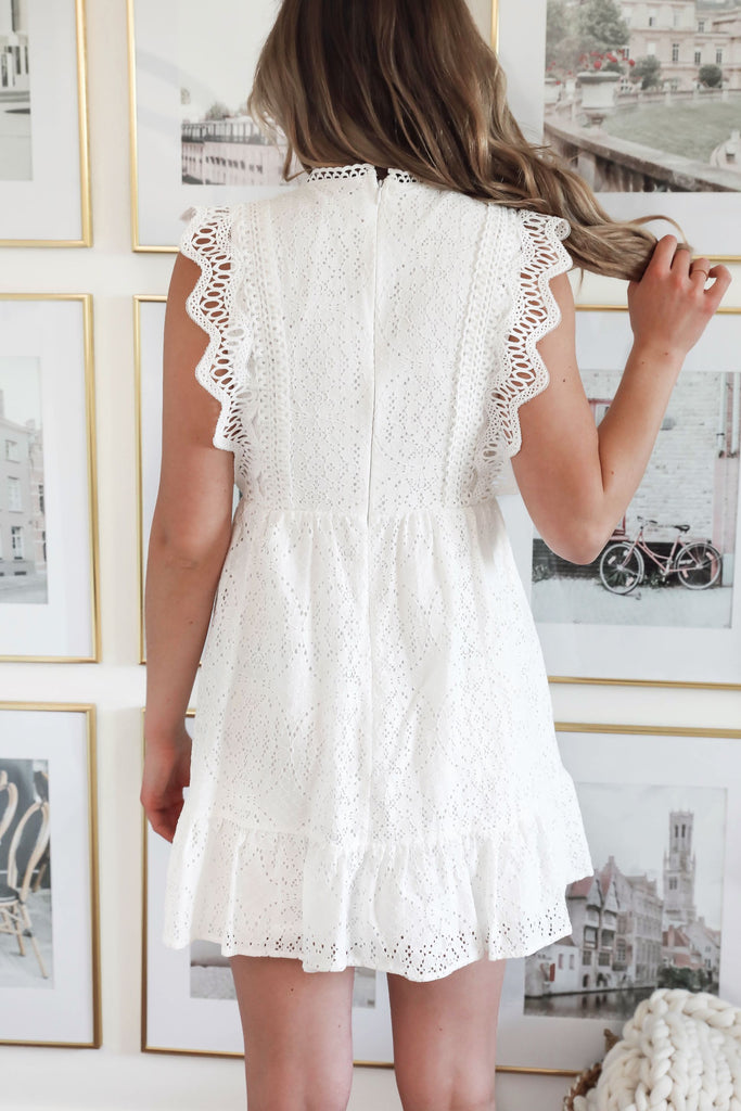 Walking on Sunshine White Lace Dress