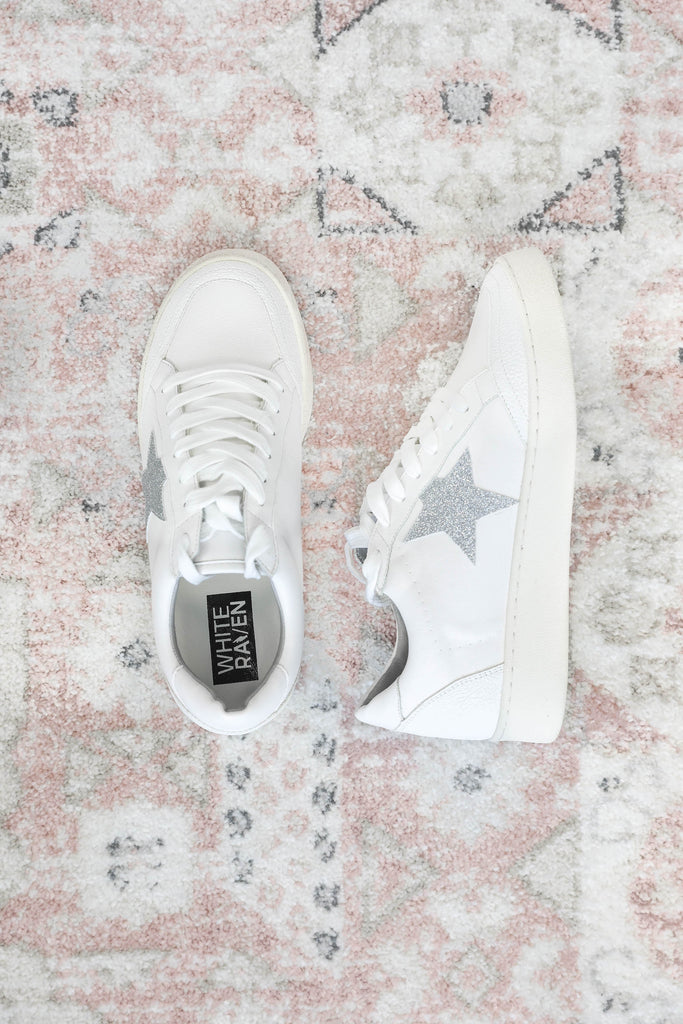 White & Silver Glitter Star Sneakers
