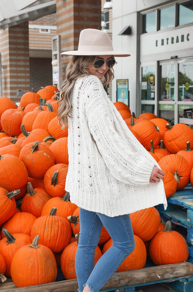 Cozy on Up Cable Knit Cardigan - Ivory