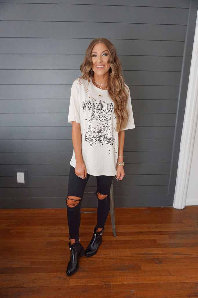 World Tour Distressed Tee Inspired by Makenna Christine