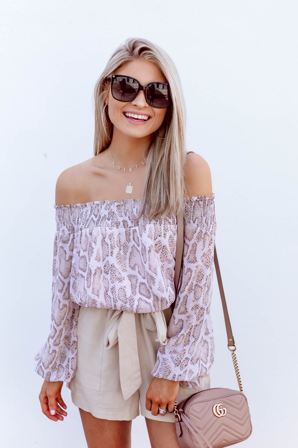 Off the Shoulder Lilac Leopard Top Inspired by Kristin Coffey Pressley