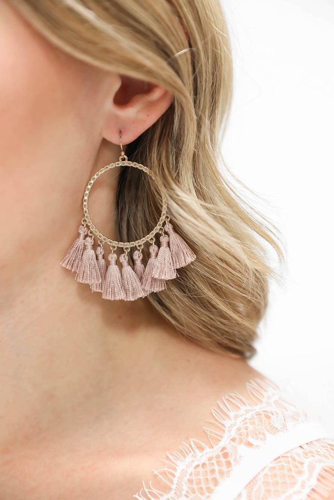 You are the One Tassel Earrings - Mauve