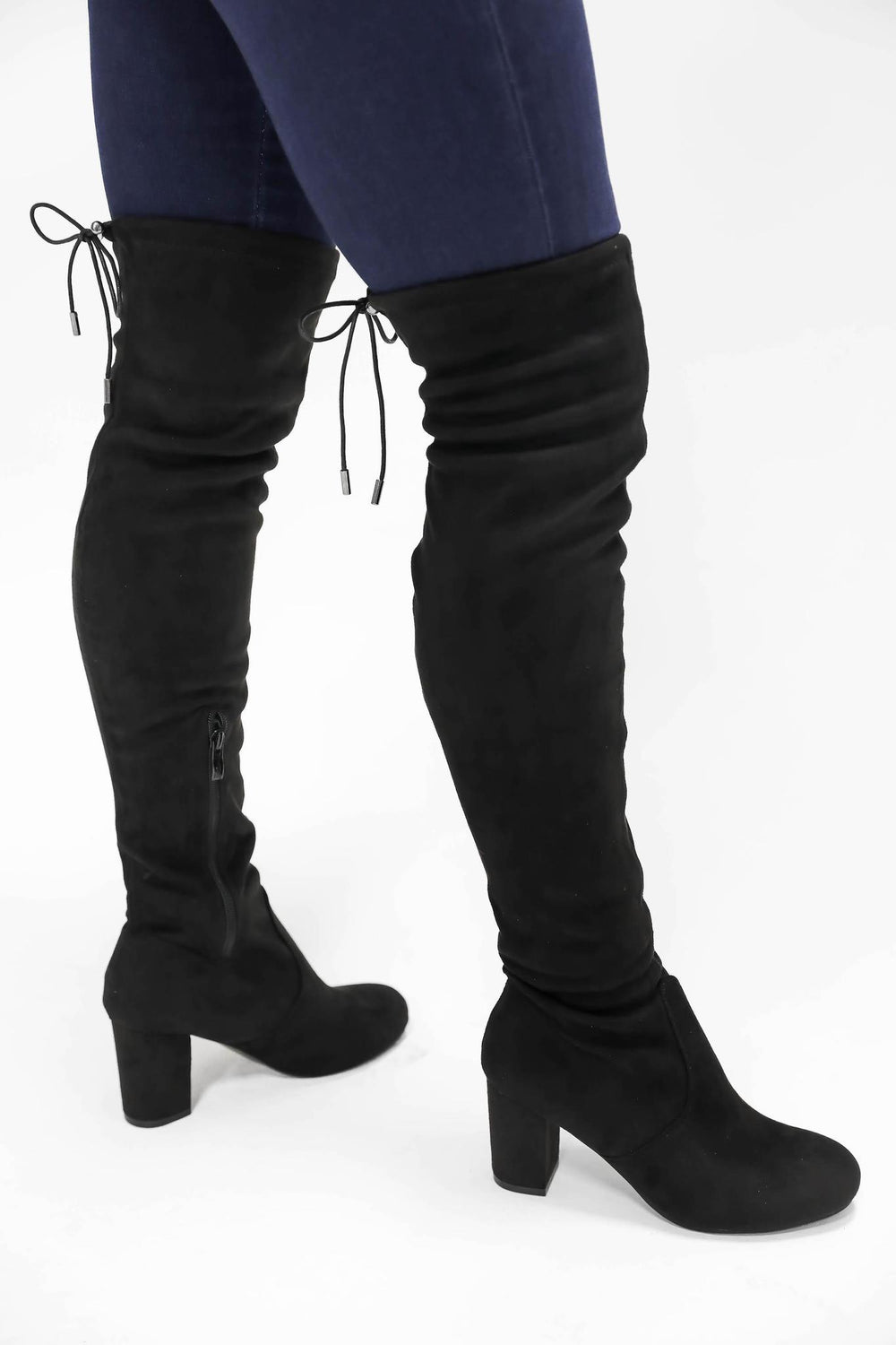 Overjoyed Over the Knee Boots Black