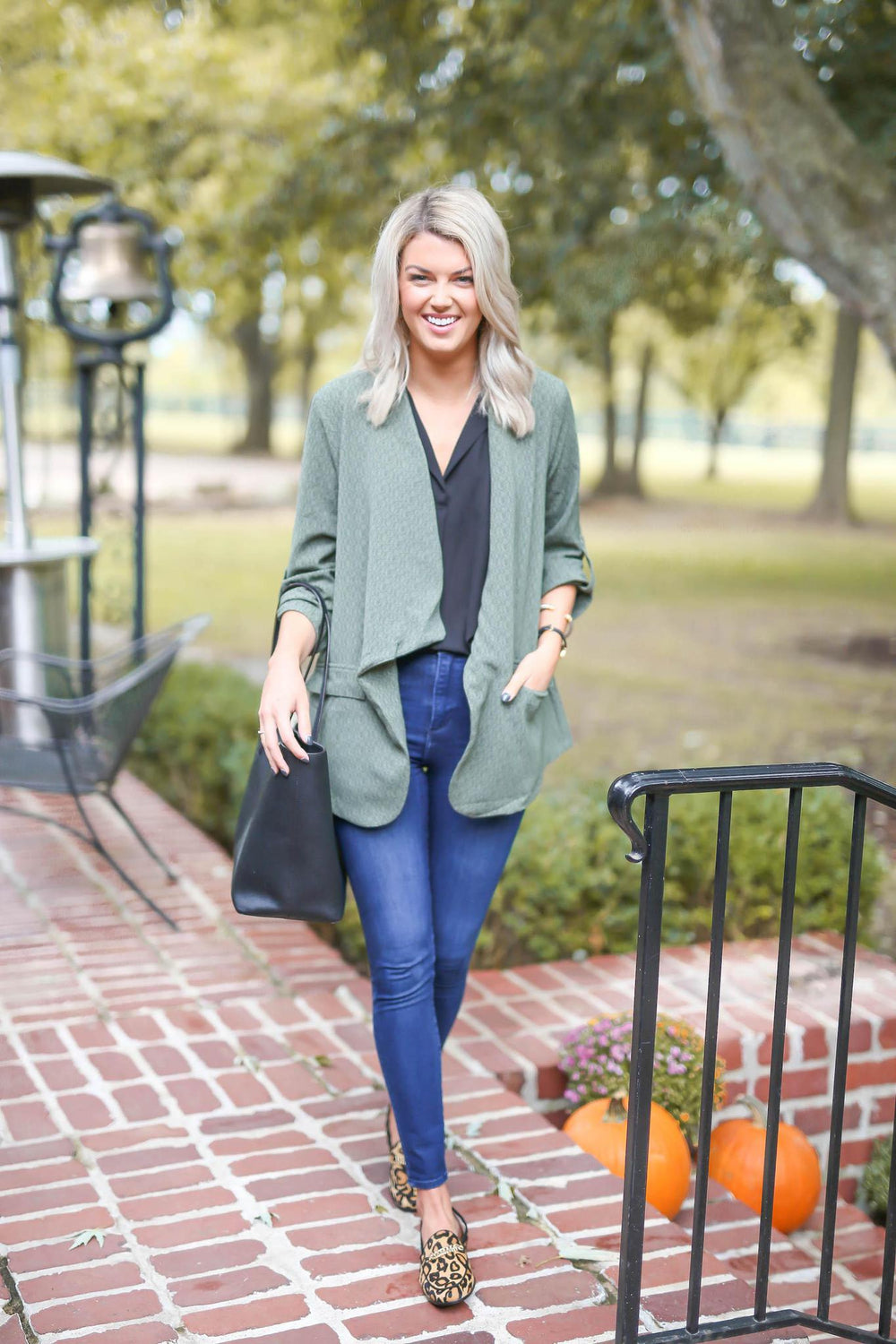 "Ruched Sleeve Olive Blazer ""Inspired by Shelby Ditch"""