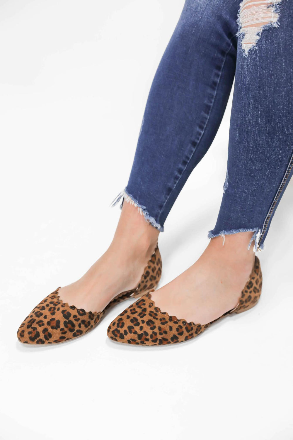 Wild Days Leopard Scalloped Flats