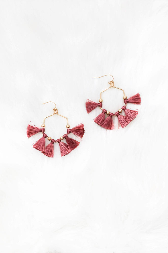 Perfect Timing Pink Tassel Earrings
