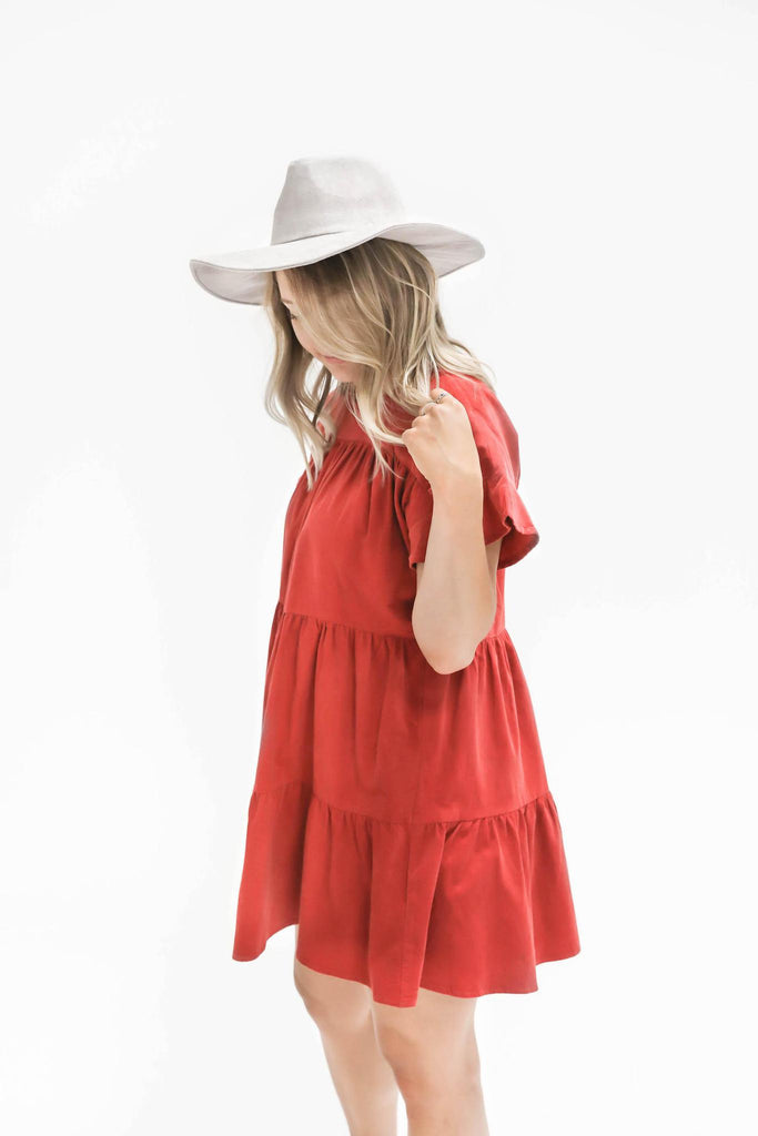 Beaming Tiered Corduroy Dress