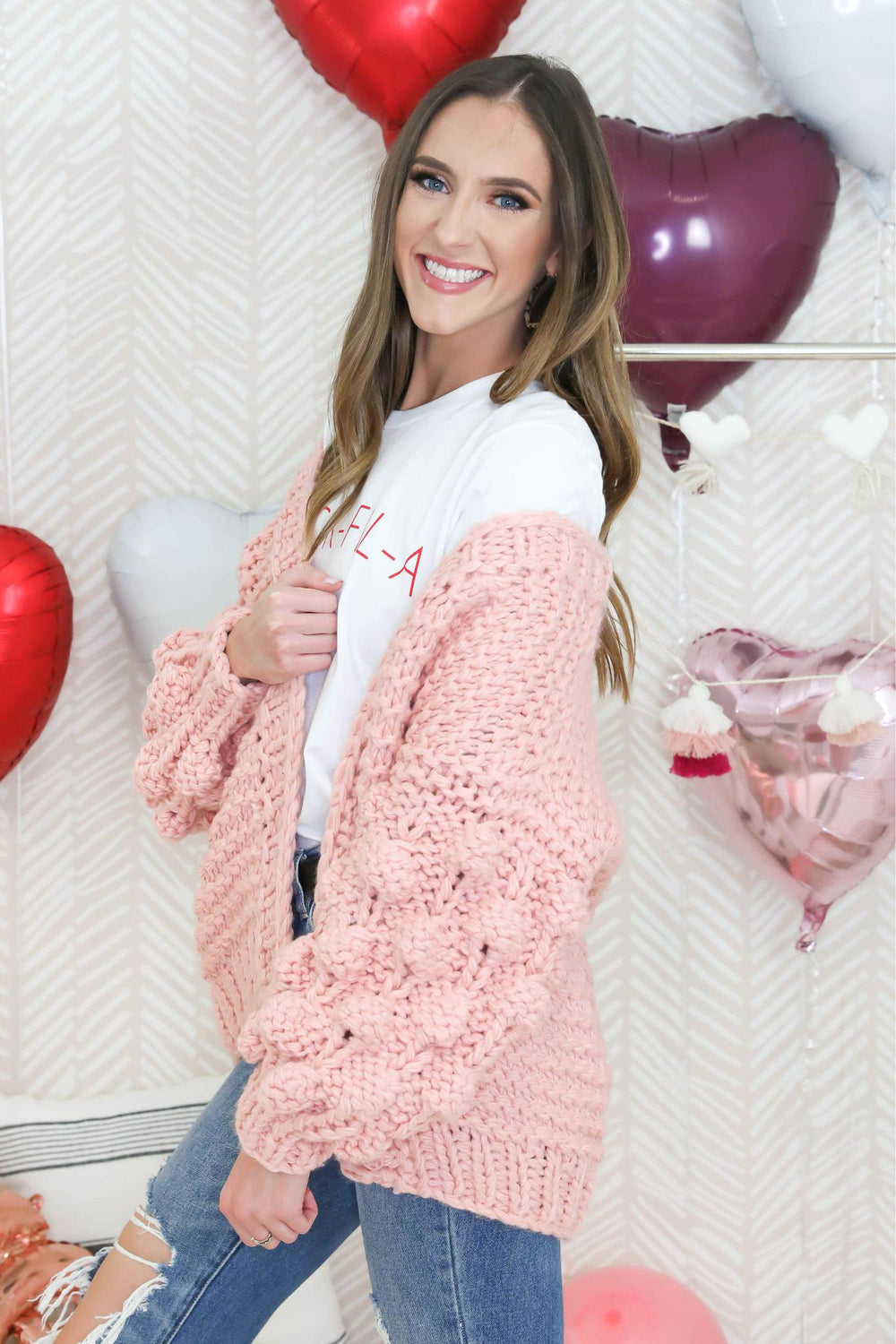 Falling for Pink Pom Sleeve Cardigan