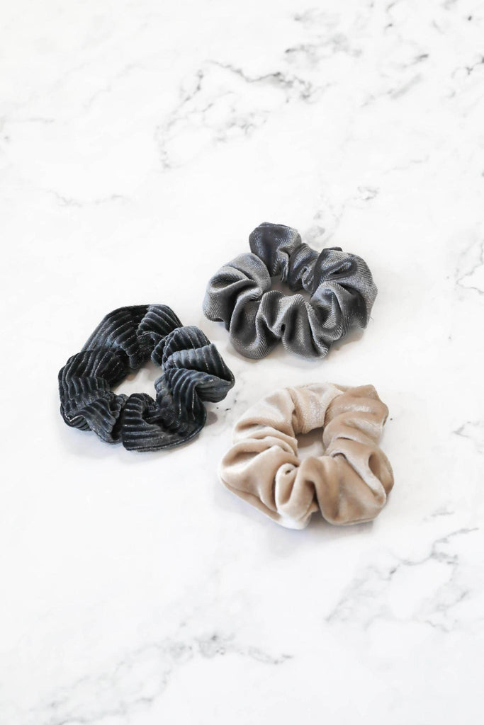 Starlight Velvet Scrunchie Trio Set of Three