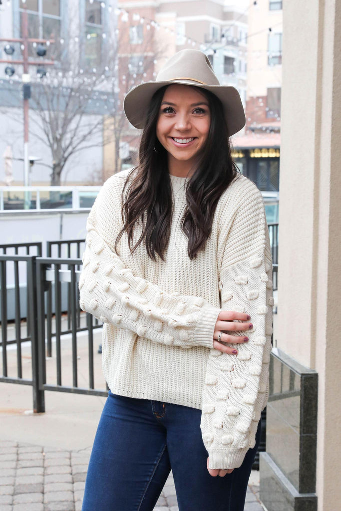 Happy Day Ivory Pom Sleeve Sweater
