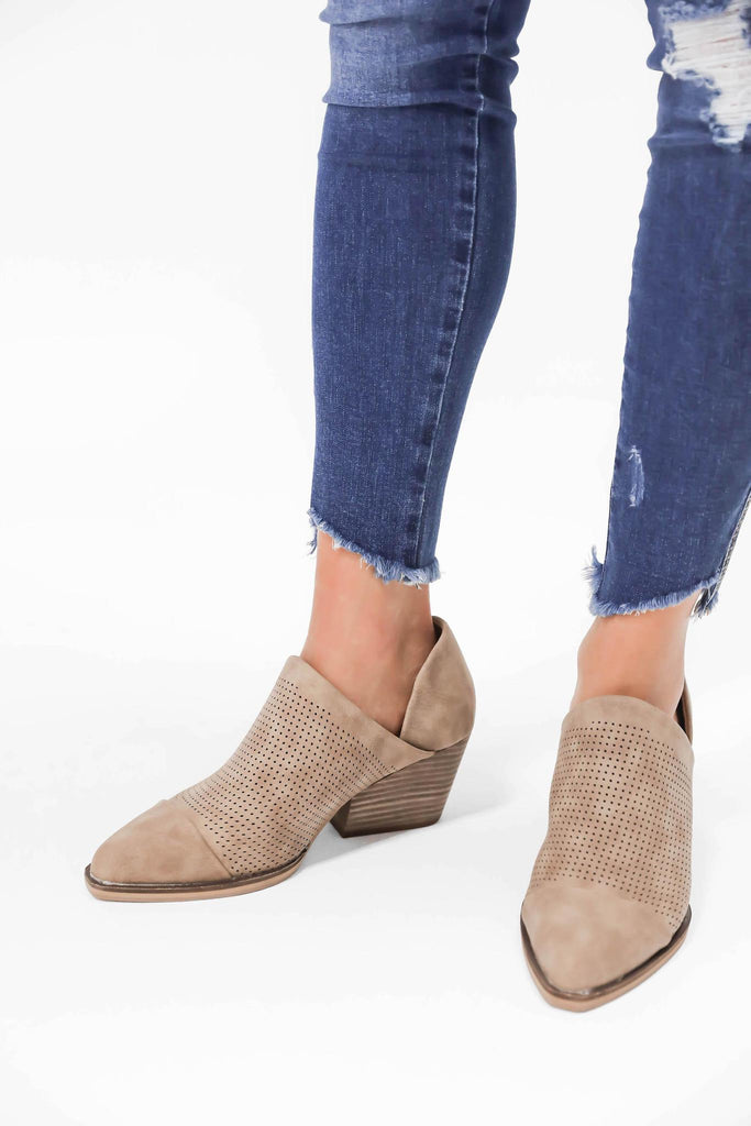 Wandering Wonderlust Tan Booties