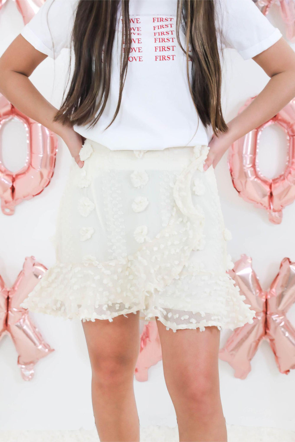 Flirty Tied Ivory A-Line Skirt