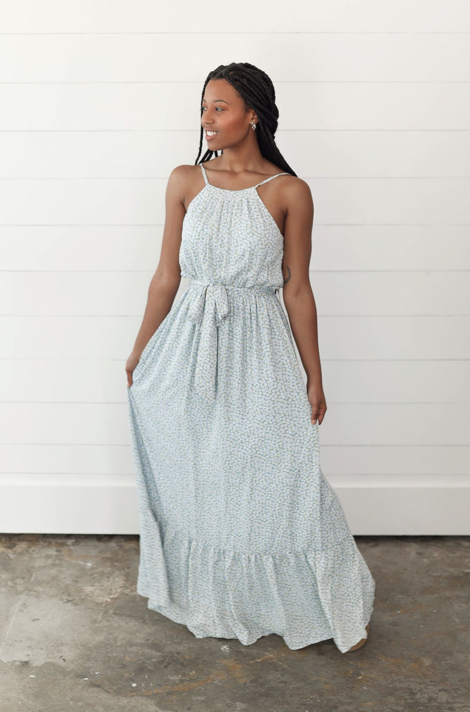 Powder Blue Floral Maxi Dress Inspired by Shelby Ditch