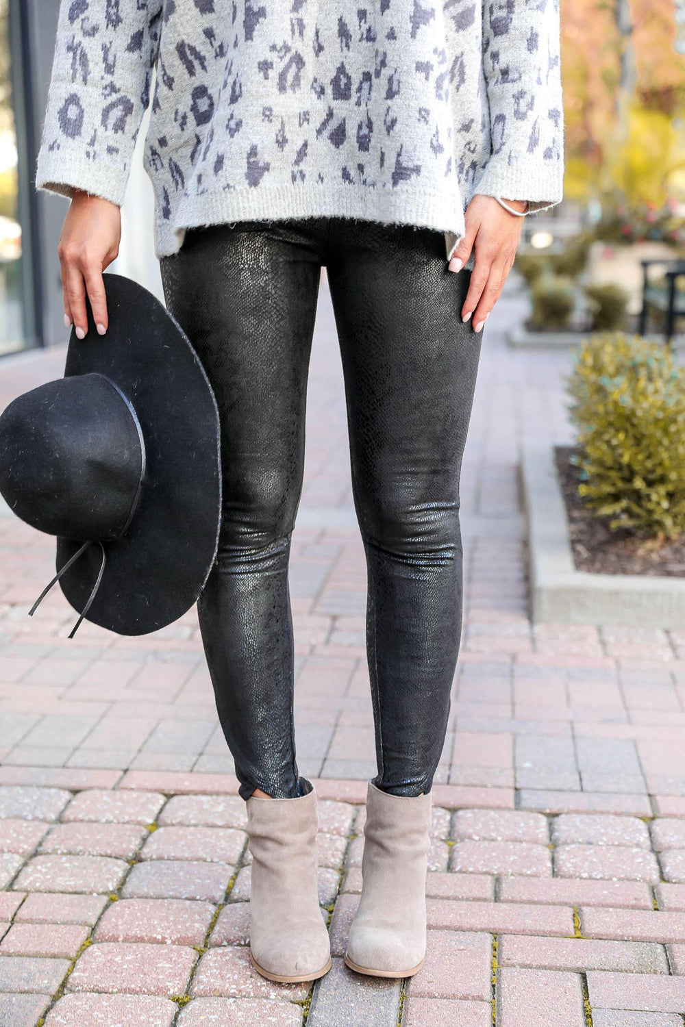 Faux Snake Leather Leggings
