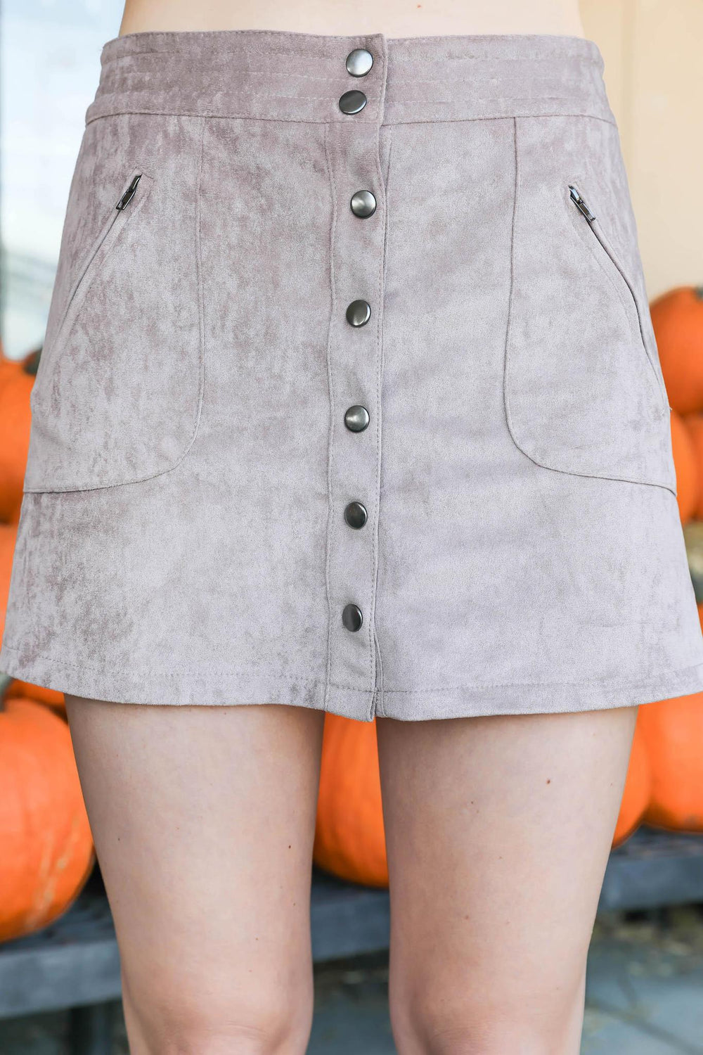 Autumn Breeze Faux Suede Button Up Mini Skirt