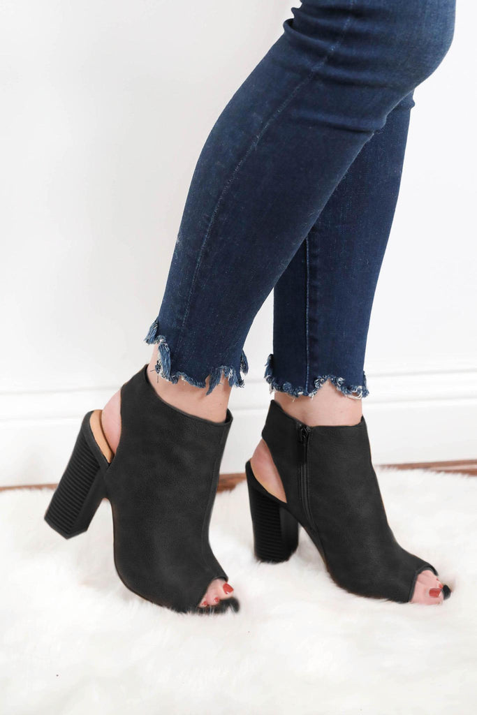Sneak Around Peep Toe Booties - Black