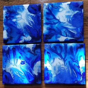 Coaster set of 4 - Icy Blue