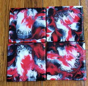 Coaster set - Red, White, & Black