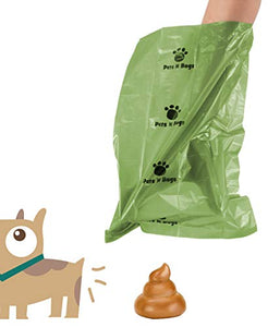 Dog Poop Bag Refill Rolls (24 Rolls / 360 Count, Unscented) Includes Dispenser by Pets N Bags